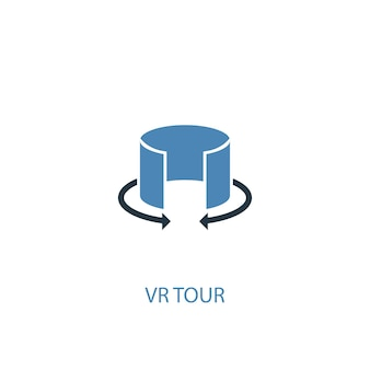 Концепция тура vr 2 цветного значка. простой синий элемент иллюстрации. дизайн символа концепции тура vr. может использоваться для веб- и мобильных ui / ux
