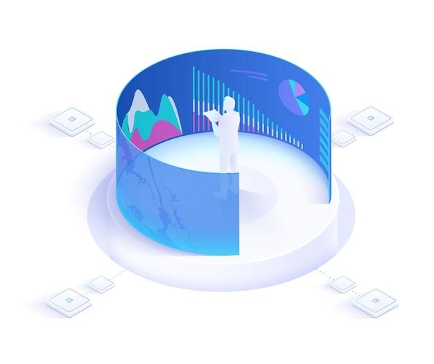 Vr, виртуальная дополненная реальность и футуристическая банковская концепция с персонажами. гаджет будущего
