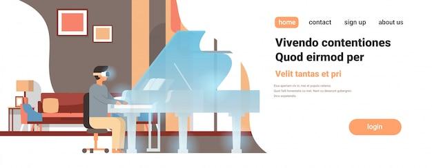 Человек пианист носить цифровые очки сенсорный виртуальная реальность рояль vr vision