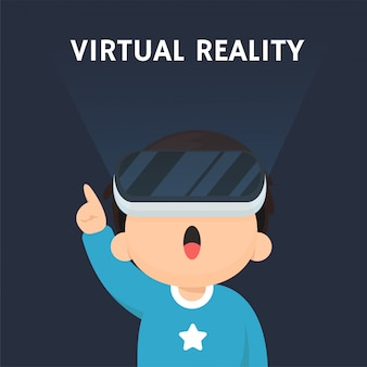 Vrテクノロジー。 vrテクノロジーを使用して仮想世界に入ることに興奮している子供たち。