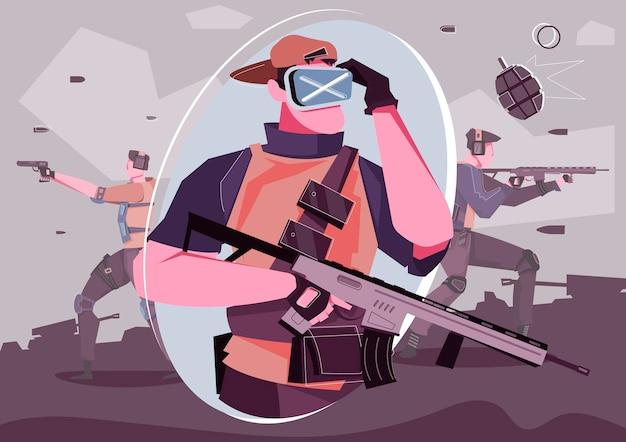 拡張現実メガネをかけ、武器を持っている男性ゲーマーとのvr戦争ゲームフラットコンポジション