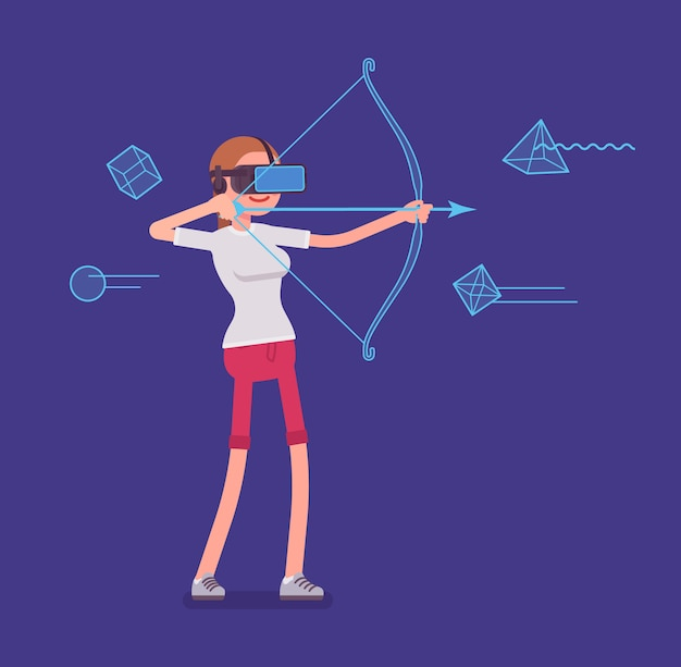 Vr woman in archery game