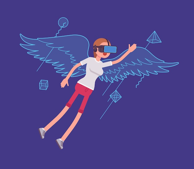 Vr woman flying