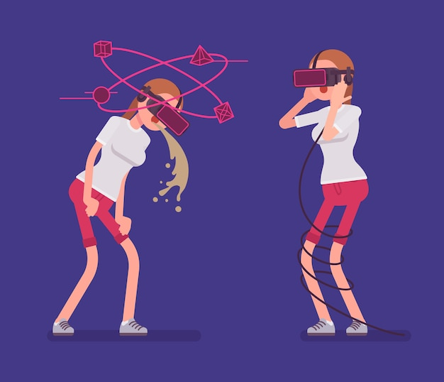 Vr woman having nausea and negative experience