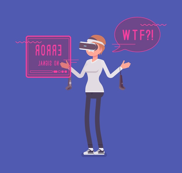 Vr woman having negative experience and problems