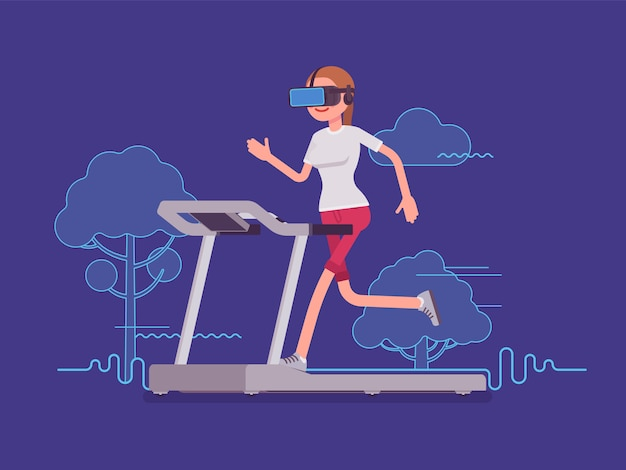 Vr woman running on track