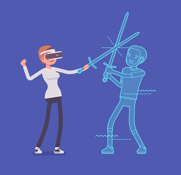 Vr woman sword fighting action