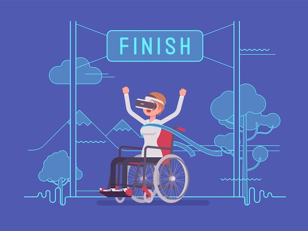 Vr woman woman wheelchair user winning