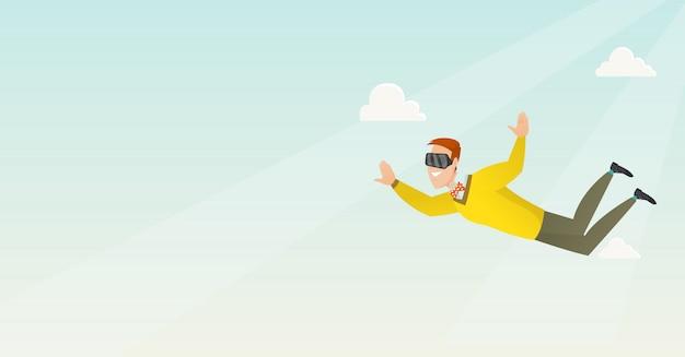 Бизнесмен в vr гарнитура летать в небе