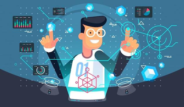バーチャルリアリティユーザー。 vr技術イラスト。未来的なユーザーインターフェース。