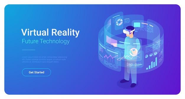 Человек в шлеме vr в виртуальной реальности анализирует данные - равновеликую иллюстрацию вектора.