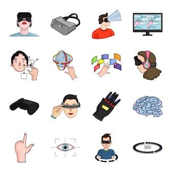 現実の仮想漫画のアイコンを設定します。イラストvrゲーム。孤立した漫画セットアイコン現実仮想技術。