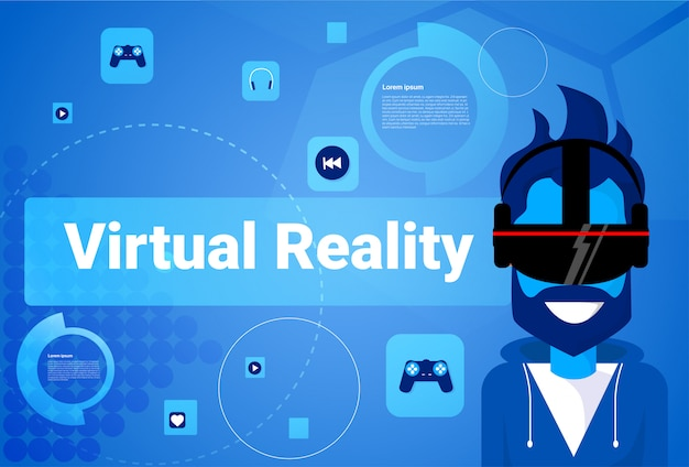 男が身に着けているバーチャルリアリティ眼鏡現代vrゴーグルゲーム技術の概念