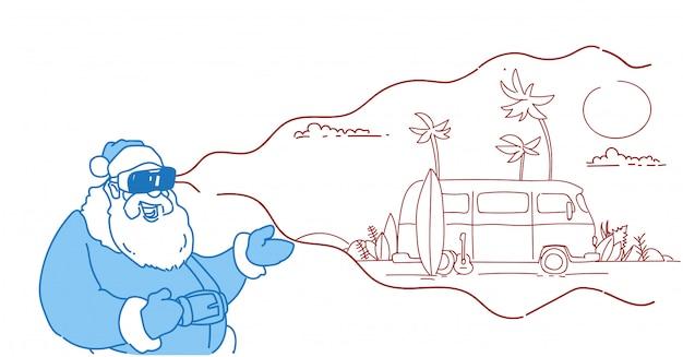 サンタウェアデジタルメガネバーチャルリアリティヴィンテージサーフバス日没熱帯ビーチ夏休みvrビジョンヘッドセットフラット