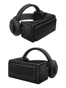 ヘッドセットと立体仮想現実ゴーグルベクトル。現実的なvrメガネと分離されたヘッドフォン