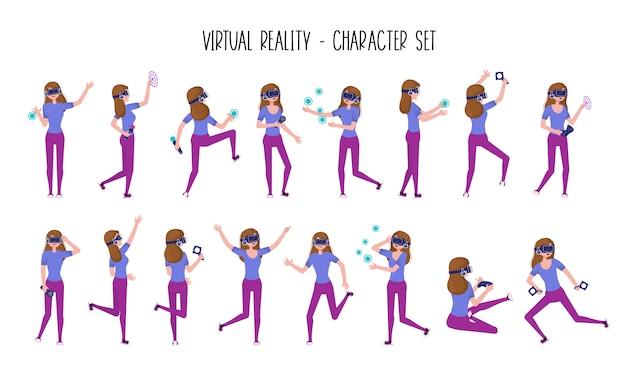 Девушка или подросток в виртуальной реальности гарнитура или шлем vr