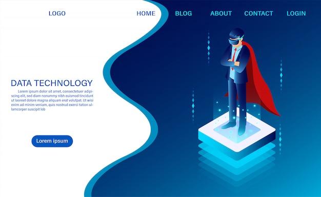 ヒーローのビジネスマンは明るいボタンにゴーグルvrを着て立っています。