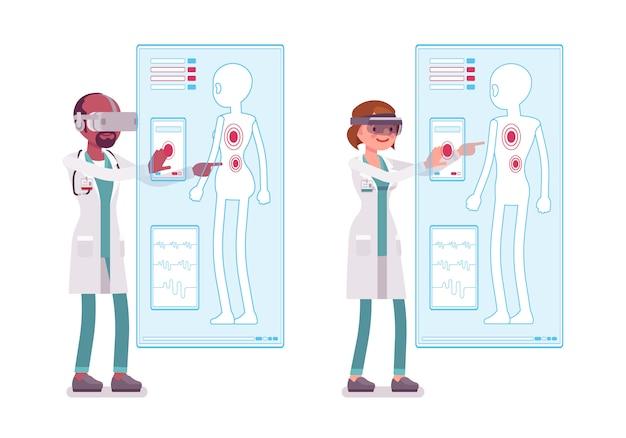 Мужской и женский доктор делает vr-диагностику