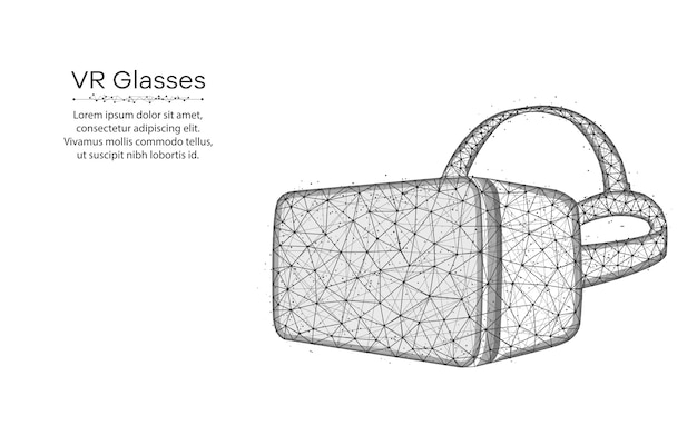 Vrメガネ低ポリデザイン、仮想現実メガネワイヤフレームメッシュポイントとラインから作られた多角形のベクトル図