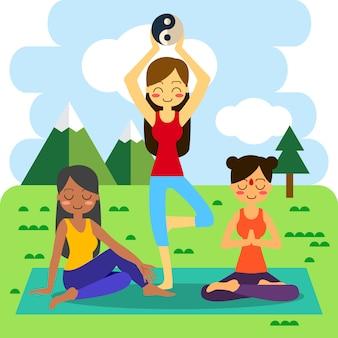 木のポーズでヨガを練習している女性。アサナvrikshasanaで。