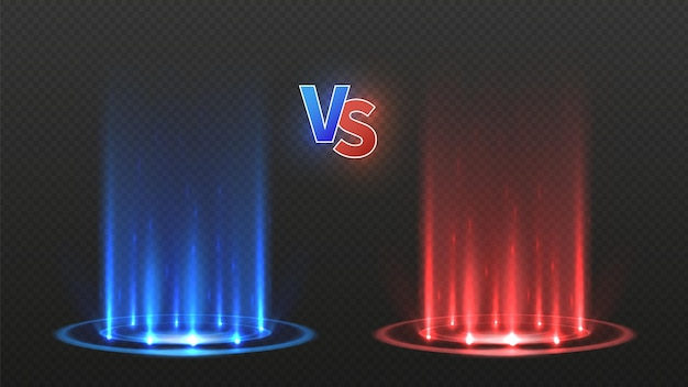 Vs 전투 바닥. 액션 게임 대결, 빛나는 팀. 디스코 댄스 플로어 또는 네온 에너지 텔레포트. 빨간색 파란색 연단 벡터 일러스트 레이 션. 격투 게임, 챔피언십 및 경쟁