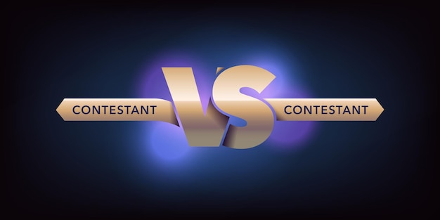 対文字ベクトルアイコン、ロゴ。青の背景にサイン対のチームの競争デザイン。名前の付いたバナーまたは背景