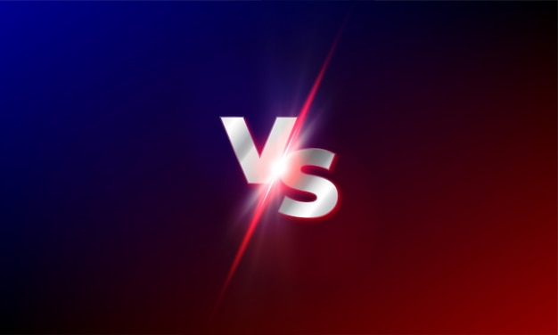Vs против фона. красный и синий мма бой конкурс против света блеск шаблон