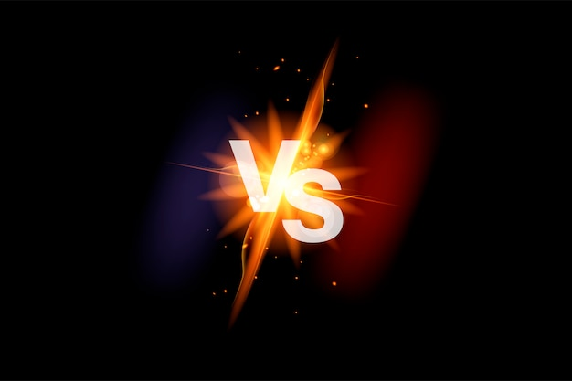 Vs versus battle sport background. versus fight with fire. vs duel