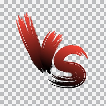 Vs.透明な背景に対文字のロゴ。赤いグラデーションのvs文字。ベクトルイラスト。