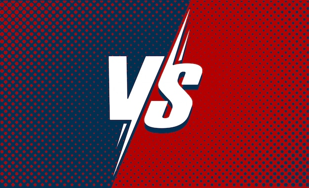 Vs or versus text poster for battle or fight game flat cartoon with red and dark blue halftone background