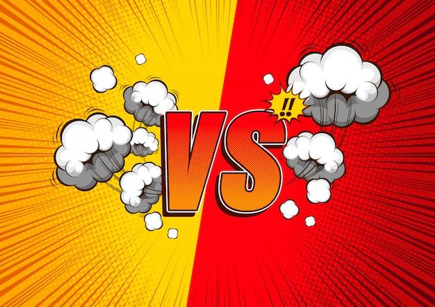 Против vs, бой комический фон.
