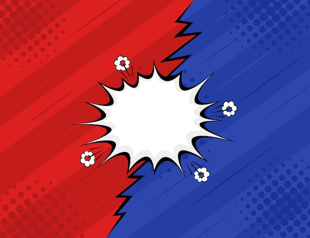 Vs。対。戦い、赤と青のレトロな背景コミックスタイルのデザイン。モダンなフラットスタイルのベクトル図