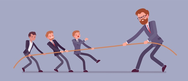 綱引き、男性vs巨大バナー