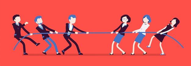 綱引き、男性vs女性