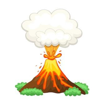 Вулкан иллюстрация на белом фоне