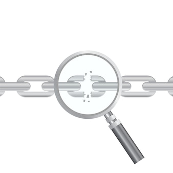 Vulnerability search. seo optimization,web analytics, programming process  elements. it security concept.  illustration. magnifier and torn chain
