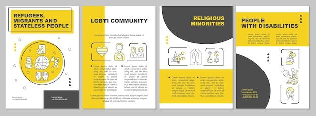 Уязвимые люди, которые страдают от шаблона брошюры по торговле людьми. флаер, буклет, печать листовок, дизайн обложки с линейными иконками. векторные макеты для презентаций, годовых отчетов, рекламных страниц