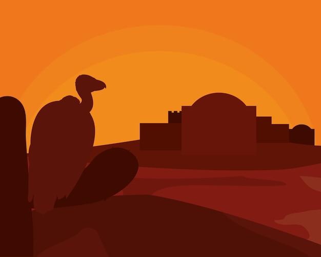 Vulture on desert