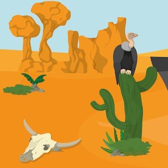 Vultures on desert
