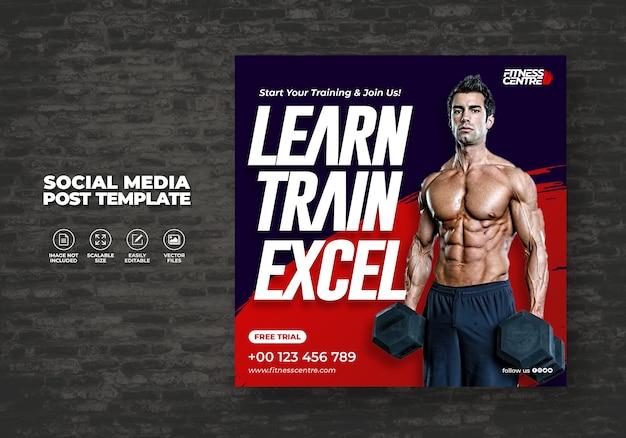 Vvafitness or gym social media banner or square excercise sport studio flyer template