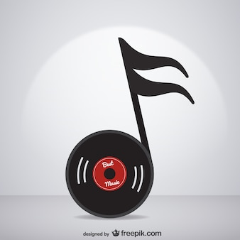 Vynil record becoming a music note