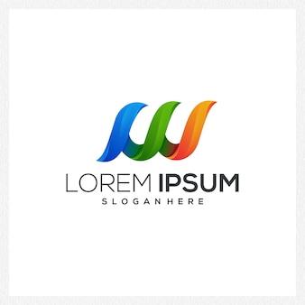 W дизайн логотипа значок fulcolor colection компания простой специальный