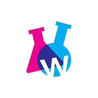 W letter lab laboratory glassware beaker logo vector icon illustration
