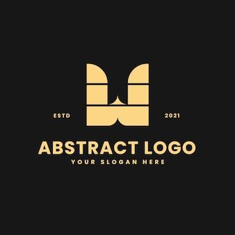 W letter luxurious gold geometric block concept logo vector icon illustration