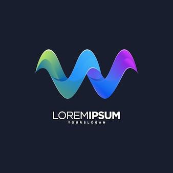 W letter web tech icon