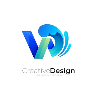 웨이브 디자인 일러스트, 바다 아이콘 w 로고