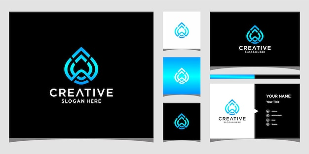W water logo design with business card template