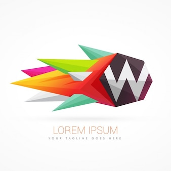 文字wとカラフルな抽象的なロゴ