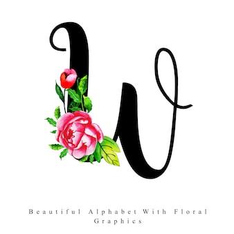 アルファベットの手紙w水彩の花の背景