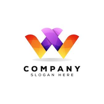 Геометрическая буква w логотип шаблон